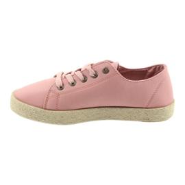 Balerinki espadryle buty damskie różowe Big star 274425 2