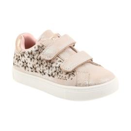 American Club ADI sportowe buty dziecięce w kwiaty American szare różowe 1