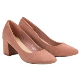 Ideal Shoes Pudrowe Czółenka Na Słupku różowe 3