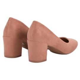 Ideal Shoes Pudrowe Czółenka Na Słupku różowe 1