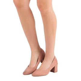 Ideal Shoes Pudrowe Czółenka Na Słupku różowe 4
