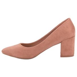 Ideal Shoes Pudrowe Czółenka Na Słupku różowe 6