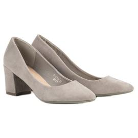 Ideal Shoes Szare Czółenka Na Słupku 2