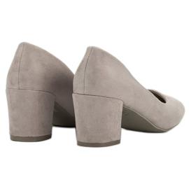 Ideal Shoes Szare Czółenka Na Słupku 1