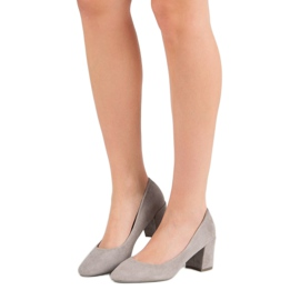 Ideal Shoes Szare Czółenka Na Słupku 3