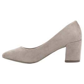 Ideal Shoes Szare Czółenka Na Słupku 6