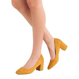 Ideal Shoes Musztardowe Czółenka Na Słupku żółte 4