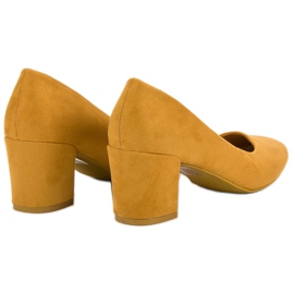 Ideal Shoes Musztardowe Czółenka Na Słupku żółte 1