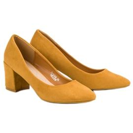 Ideal Shoes Musztardowe Czółenka Na Słupku żółte 2
