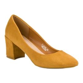 Ideal Shoes Musztardowe Czółenka Na Słupku żółte 5