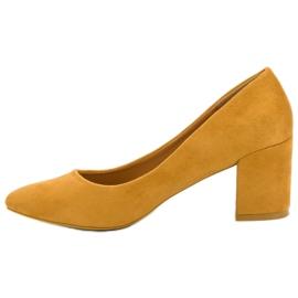 Ideal Shoes Musztardowe Czółenka Na Słupku żółte 6