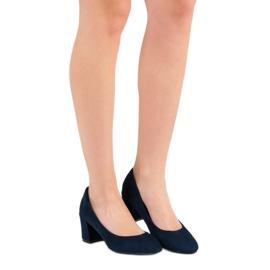 Ideal Shoes Granatowe Czółenka Na Słupku niebieskie 1