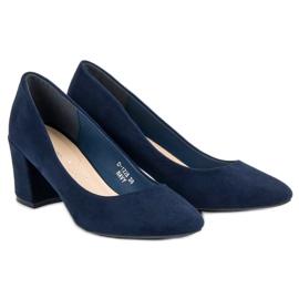 Ideal Shoes Granatowe Czółenka Na Słupku niebieskie 6