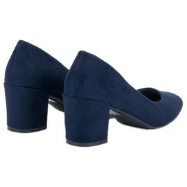 Ideal Shoes Granatowe Czółenka Na Słupku niebieskie 5