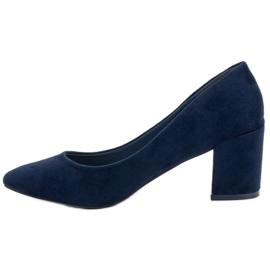 Ideal Shoes Granatowe Czółenka Na Słupku niebieskie 4