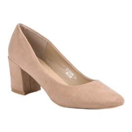 Ideal Shoes Beżowe Czółenka Na Słupku beżowy 3