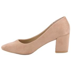 Ideal Shoes Beżowe Czółenka Na Słupku beżowy 4