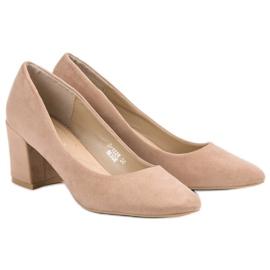 Ideal Shoes Beżowe Czółenka Na Słupku beżowy 6