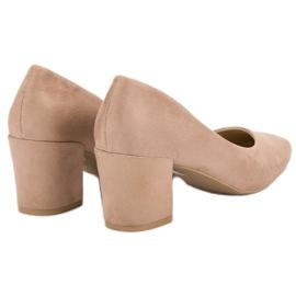 Ideal Shoes Beżowe Czółenka Na Słupku beżowy 5