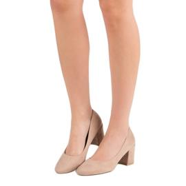 Ideal Shoes Beżowe Czółenka Na Słupku beżowy 2