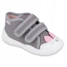Befado obuwie dziecięce 212P059 szare różowe 1