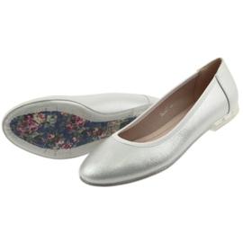 Baleriny buty damskie srebrne Sergio Leone BL607 szare 5