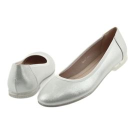 Baleriny buty damskie srebrne Sergio Leone BL607 szare 4