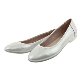 Baleriny buty damskie srebrne Sergio Leone BL607 szare 3