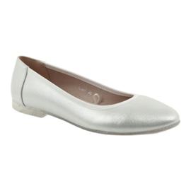 Baleriny buty damskie srebrne Sergio Leone BL607 szare 1