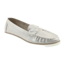 Sergio Leone Mokasyny buty damskie beż perła beżowy 1