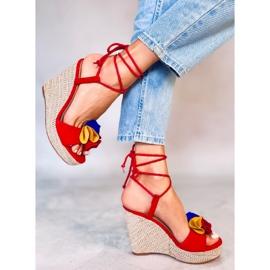 Sandałki na koturnie czerwone YY27P Red 2