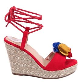 Sandałki na koturnie czerwone YY27P Red 4