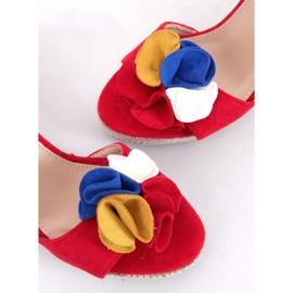 Sandałki na koturnie czerwone YY27P Red 3