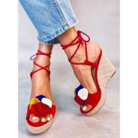 Sandałki na koturnie czerwone YY27P Red 1