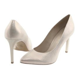 Czółenka buty damskie skórzane złote Anis 4527 żółte 4