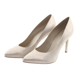 Czółenka buty damskie skórzane złote Anis 4527 żółte 3