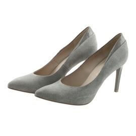 Czółenka na szpilce buty damskie ANIS szare 3