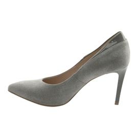 Czółenka na szpilce buty damskie ANIS szare 2