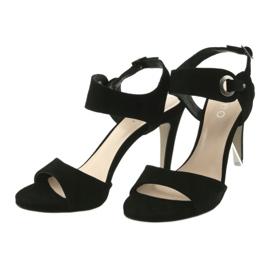 Sandały skórzane na szpilce Edeo 3208 czarne 3