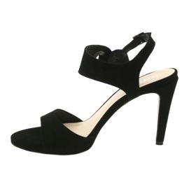 Sandały skórzane na szpilce Edeo 3208 czarne 2