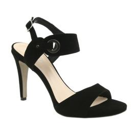 Sandały skórzane na szpilce Edeo 3208 czarne 1