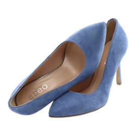 Czółenka na szpilce buty damskie Edeo 3313 niebieski niebieskie 5
