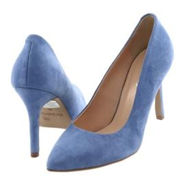 Czółenka na szpilce buty damskie Edeo 3313 niebieski niebieskie 4