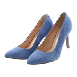 Czółenka na szpilce buty damskie Edeo 3313 niebieski niebieskie 3