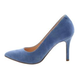 Czółenka na szpilce buty damskie Edeo 3313 niebieski niebieskie 2