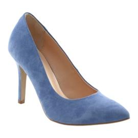 Czółenka na szpilce buty damskie Edeo 3313 niebieski niebieskie 1