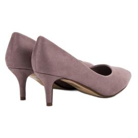 Ideal Shoes Wygodne Czółenka Na Szpilce fioletowe 4