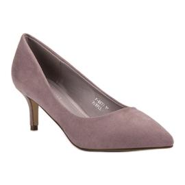 Ideal Shoes Wygodne Czółenka Na Szpilce fioletowe 2