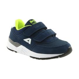 Buty sportowe wkładka skórzana American Club BS09 granatowe zielone 1
