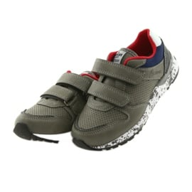 Buty sportowe American Club wkładka skórzana szare czerwone granatowe 3